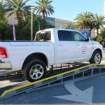 A 2014 Ram EcoDiesel 1500 navigates the articulation obstacle